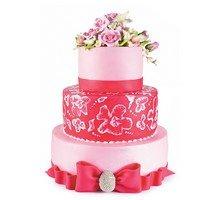 торт Для торжества. Розовый с цветами