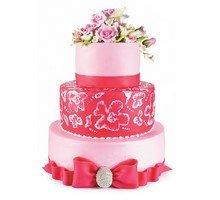 торт Для торжества.Розовый с цветами