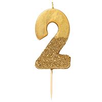 """торт Свеча для торта золотая с блестками """"№2"""""""