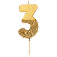 """торт Свеча для торта золотая с блестками """"№3"""""""