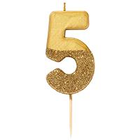 """торт Свеча для торта золотая с блестками """"№5"""""""