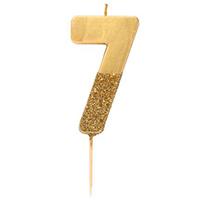"""торт Свеча для торта золотая с блестками """"№7"""""""