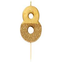"""торт Свеча для торта золотая с блестками """"№8"""""""