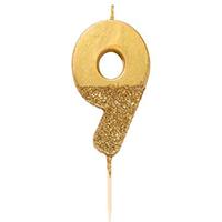 """торт Свеча для торта золотая с блестками """"№9"""""""