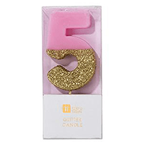 """торт Свеча для торта розовая с блестками """"№5"""""""